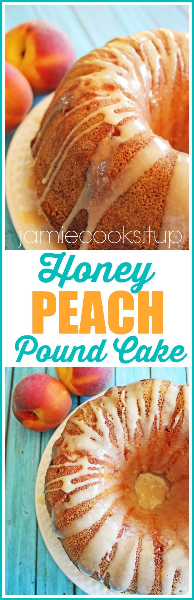 Honey Peach Pound Cake at Jamie Cooks It Up! A rich, buttery cake is studded with peaches and drizzled in a honey glaze.