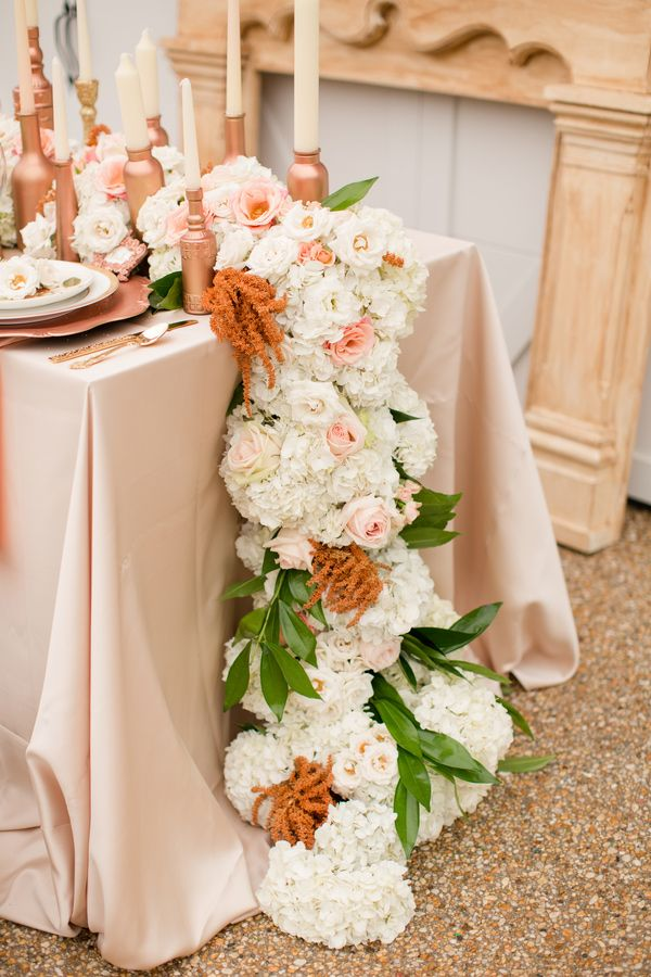 Cascading pink and white floral runner.  Anthomanic.