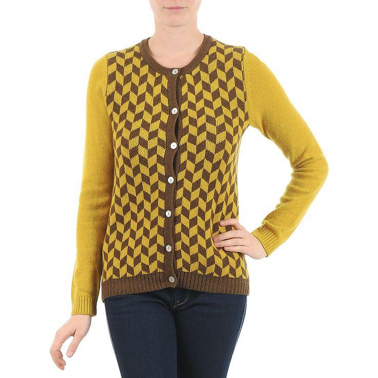 Chaqueta de punto de la marca Bensimon en amarillo y marrón con un encantador estilo retro  #bensimon #chaqueta #fashion #retro