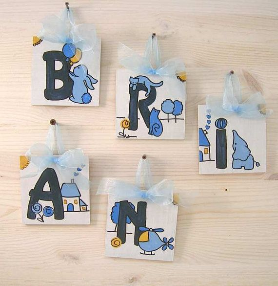 BRIAN Wood MDF 5 Wooden Letters organza ribbon  by bluepeppertime