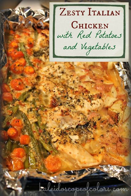 Zesty Italian Chicken with Red Potatoes and Vegetables.  I made this tonight and it is so flavorful and delicious!  We will definitely have it again.  Mmmm....garlic:)
