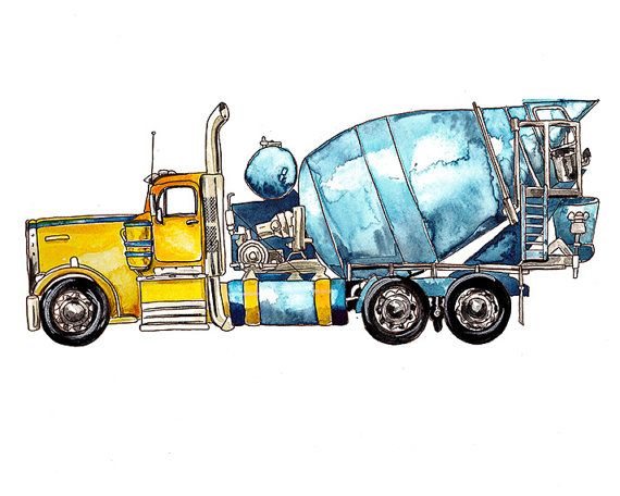 Cement Mixer Truck vehicle watercolor print от FlightsByNumber, $20.00