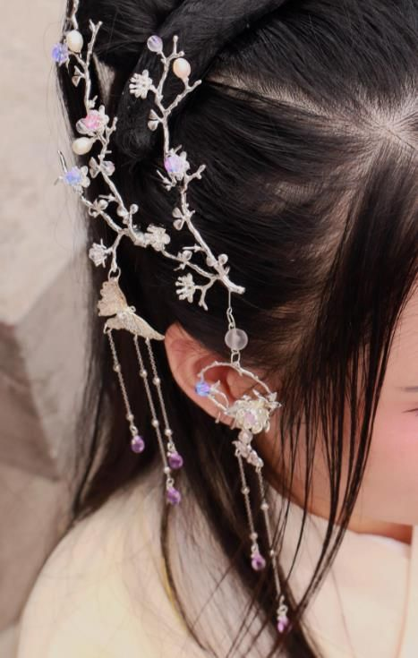 f2e9a0461 Chinese Traditional Ancient Hair Accessories Classical Hairpins Tassel  Butterfly Hair Comb Headwear for Women