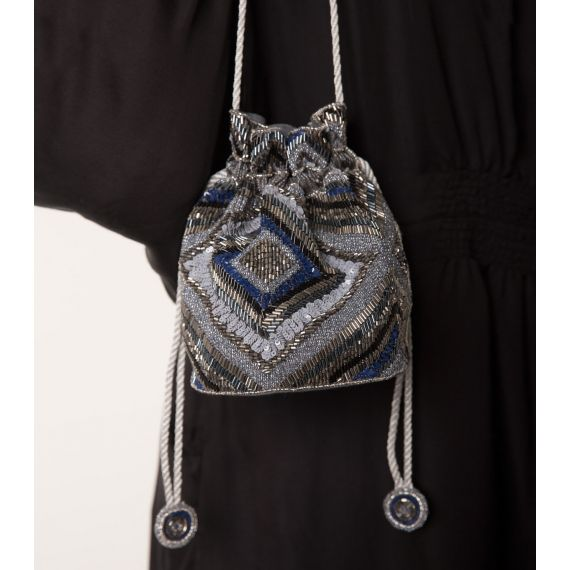 Anika Beaded Pouch Bag Blue. £130. Beautifully detailed with the entire exterior embellished in delicate beads and sequins. Worldwide Shipping Available.