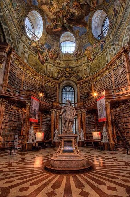 One of the most beautiful libraries in the world, the Austrian national library inside the hofburg palace