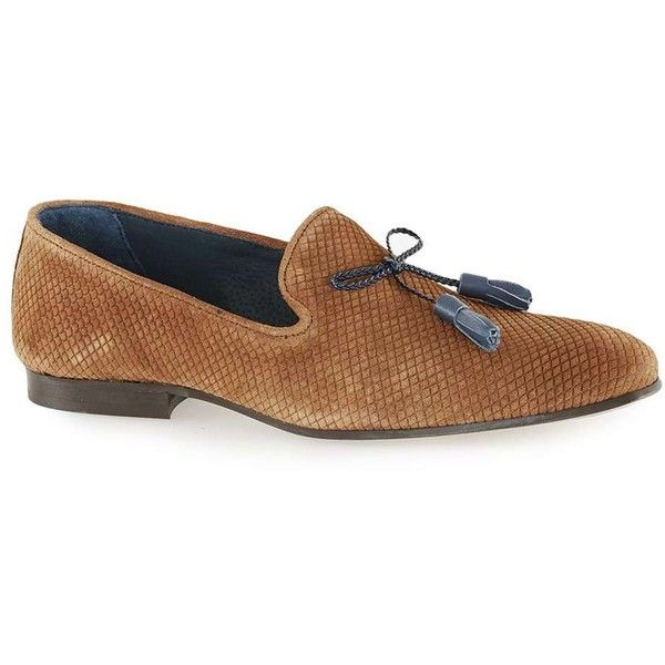 TOPMAN Tan Capon Suede Loafers ($79) ❤ liked on Polyvore featuring men's fashion, men's shoes, men's loafers, brown, mens tan suede shoes, mens tan shoes, mens loafer shoes, mens tassel shoes and mens suede shoes
