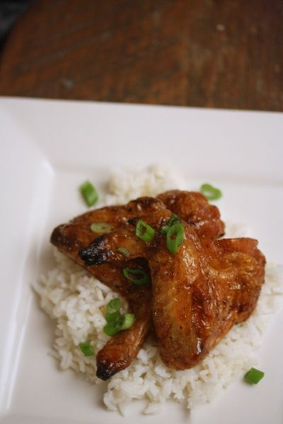 Ginger Honey Chicken Wings #chicken #rice #asian