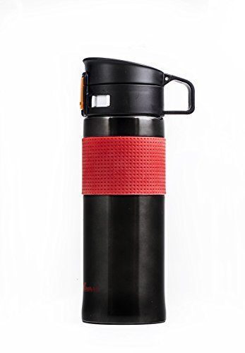 $9.90 (50% Off) on LootHoot.com - Stainless Steel Vacuum insulated Travel Mug 16.9oz Hydro Flask with Sippy Flip Lid and Silicone Grip Sleev (16.9oz, Black-Red)