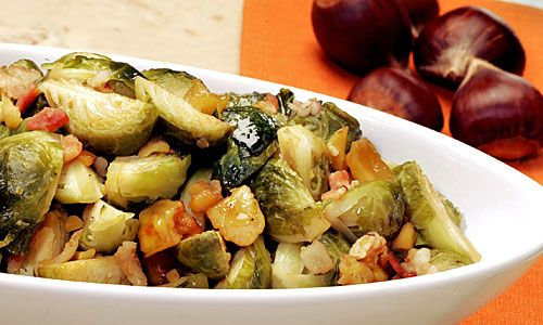 Recipe: Brussels sprouts braised with bacon and chestnuts