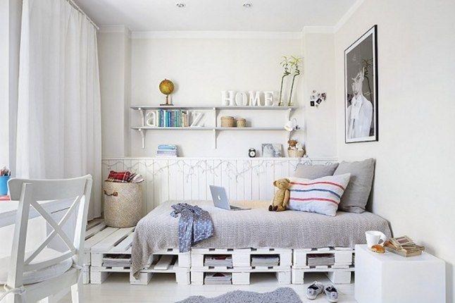 diy bett aus weißen paletten als coole kinderzimmer wohnidee für gestaltung und dekoration in weiß