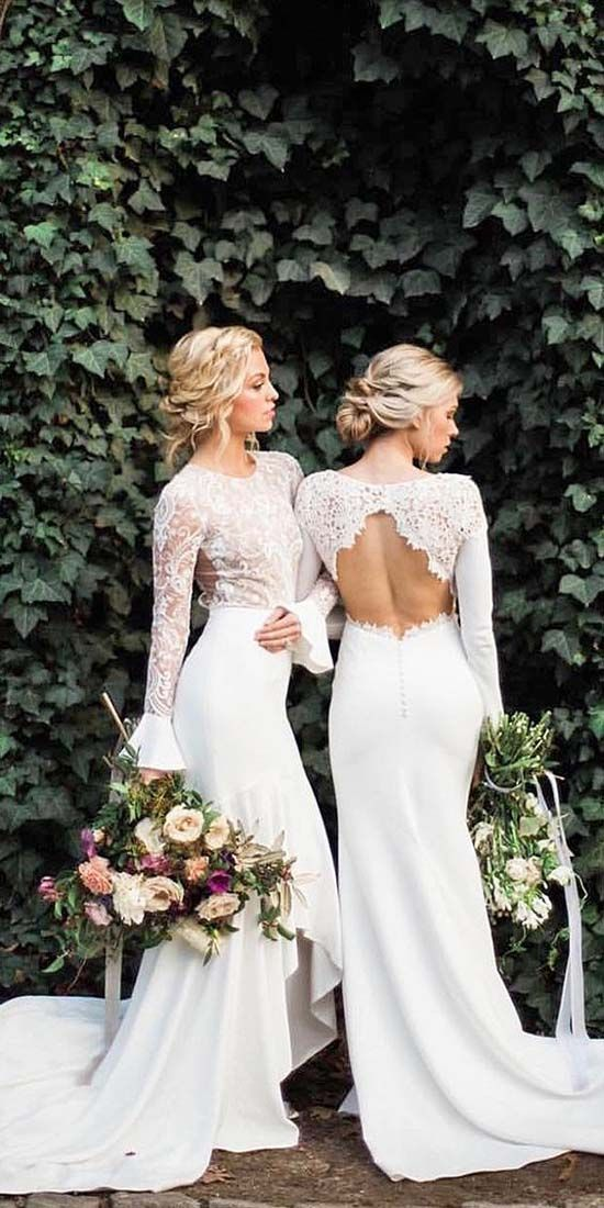 Long Sleeve White Mermaid Wedding Dresses Vintage Rustic Lace