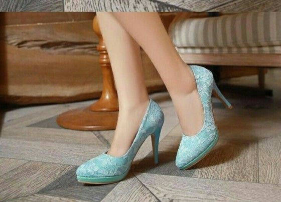 Shopo.in : Buy Pretty Blue Flora Lace Pumps online at best price in Jodhpur, India