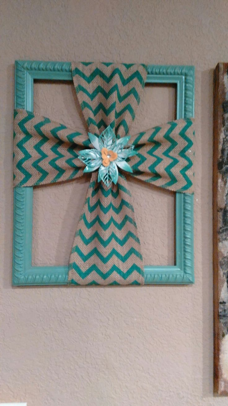 Burlap cross made with a repurposed picture frame