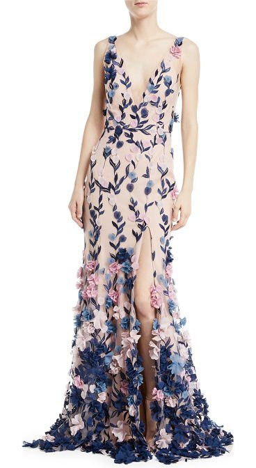 9bb93239d3eec EXCLUSIVELY AT NEIMAN MARCUS Marchesa Notte embroidered 3D chiffon flower  gown. Deep V neckline and back. Sleeveless; thin straps. Trumpet silhouette.