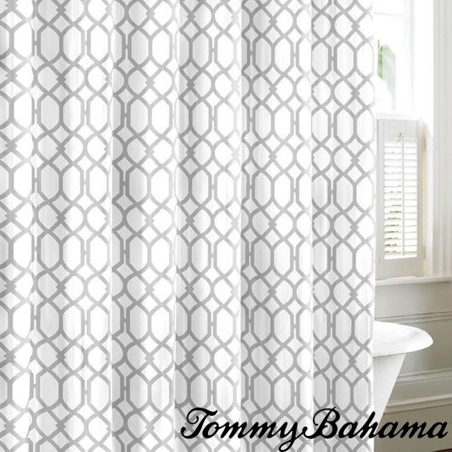Tommy Bahama Shoretown Trellis Gray Cotton Shower Curtain