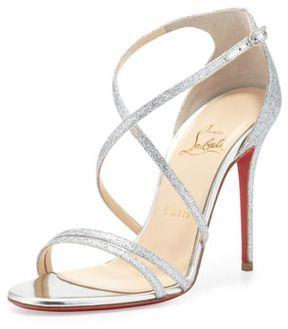 Christian Louboutin Gwynitta Glitter Open-Toed Sandal, Silver on shopstyle.com