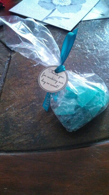 Homemade Rock Candy Wedding Favors :) they turned out so nice and it was so easy & inexpensive