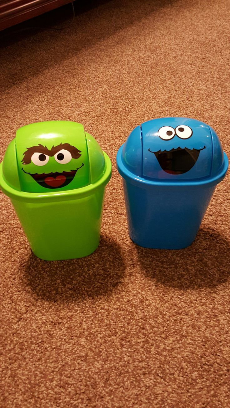 Personalized Trash Can Cookie Monster/Personalized Trash Can Oscar/Sesame Street…
