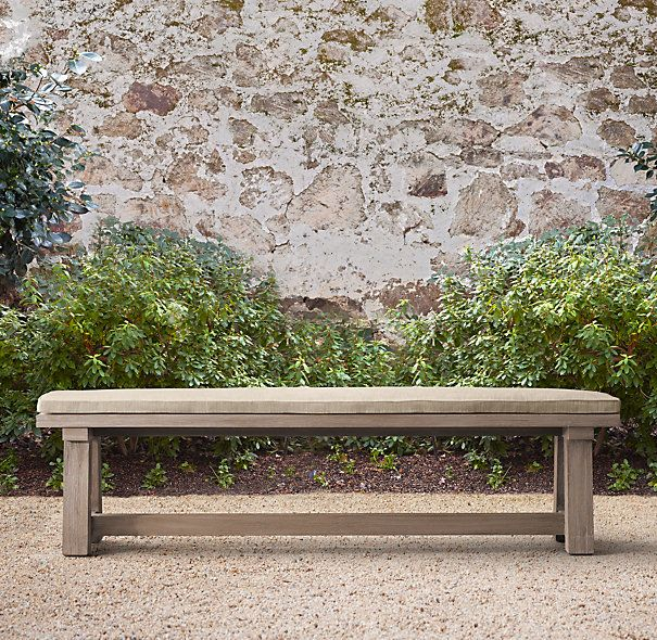 Majorca Weathered Teak Dining Bench Cushion MANY OUTDOOR FABRIC OPTIONS