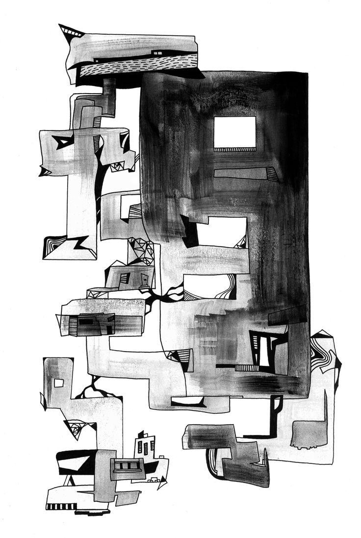 Francois Pretorius - The Ruins (2014) #art #illustration #indianink #design #city