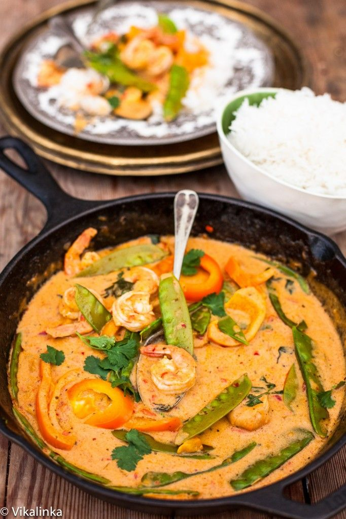 Thai Red Curry with Prawns and Snow Peas