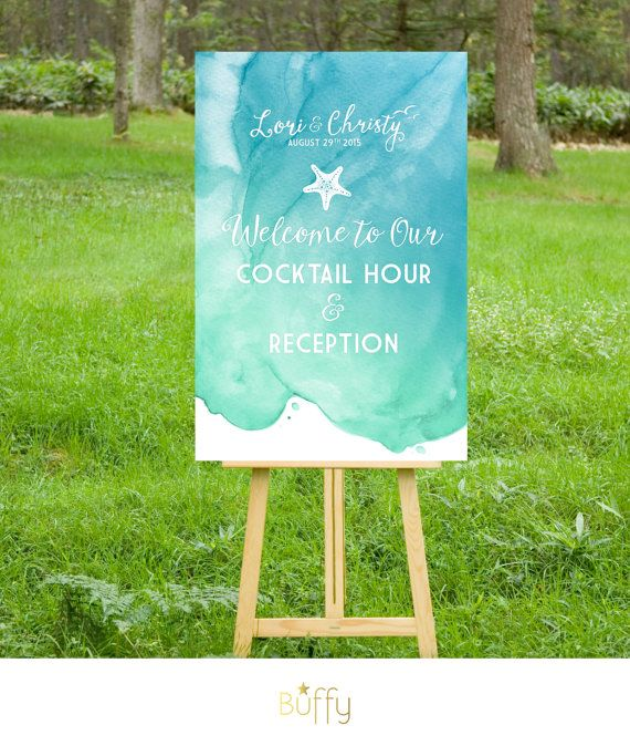 The CHRISTY . Welcome Wedding Ceremony Cocktail Sign . Printed on Heavy Paper, Foam Board or Canvas . Beach Nautical Watercolor Calligraphy