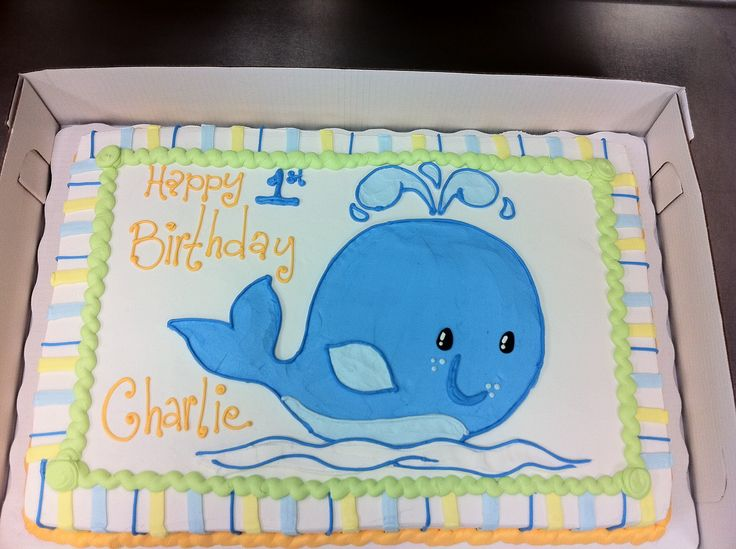 Whale First Birthday Cake - Full Sheet Marble Cake, 100% Buttercream Frosting. This cake was designed to match the party decor for the little boys first birthday. I drew the whale freehand onto the cake. This is my favorite style of decorating and this one was fun! The little Seahorse smash cake in my album went with this cake. TFL :)