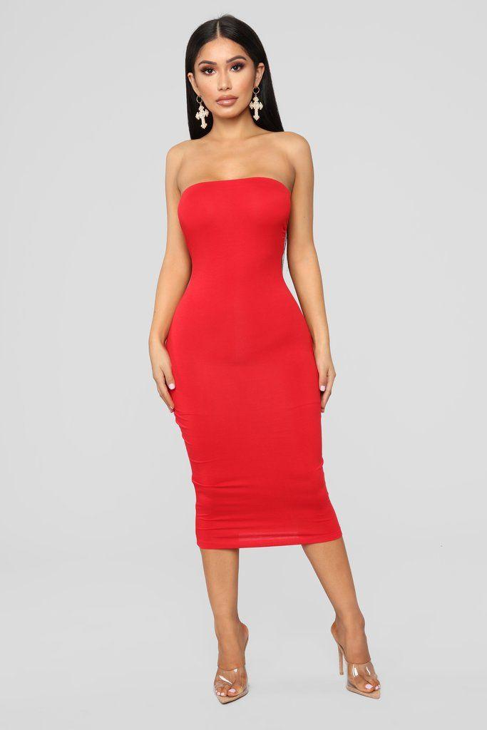 6ec200ba513 Rhianna Tube Dress - Red in 2019