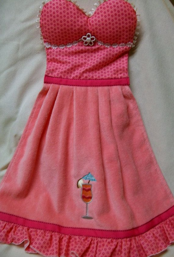 Strapless Pink Padded Oven Door Dish Towel Dress by WoopsaDaisies