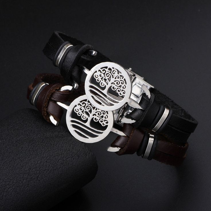 Fashion Tree of Life Charm Stainless Steel Chain Genuine Leather Bracelets for Men