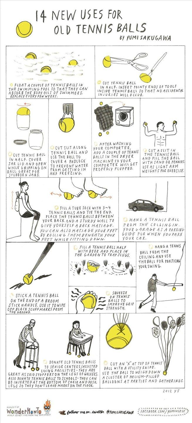 14 New Uses for Old Tennis Balls - the kids might enjoy some of these