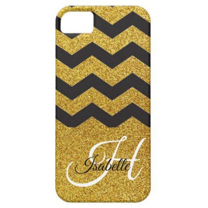 Glam Gold Glitter Chevron iPhone SE/5/5S Case - glitter glamour brilliance sparkle design idea diy elegant