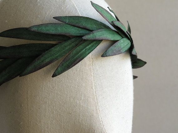 Paper Leaf Crown Dark green rustic headpiece by SQUISHnCHIPS                                                                                                                                                      More