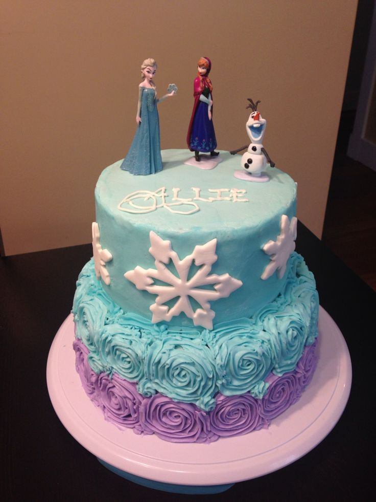 Frozen cake with buttercream icing. Anna, Elsa and Olaf figurines.