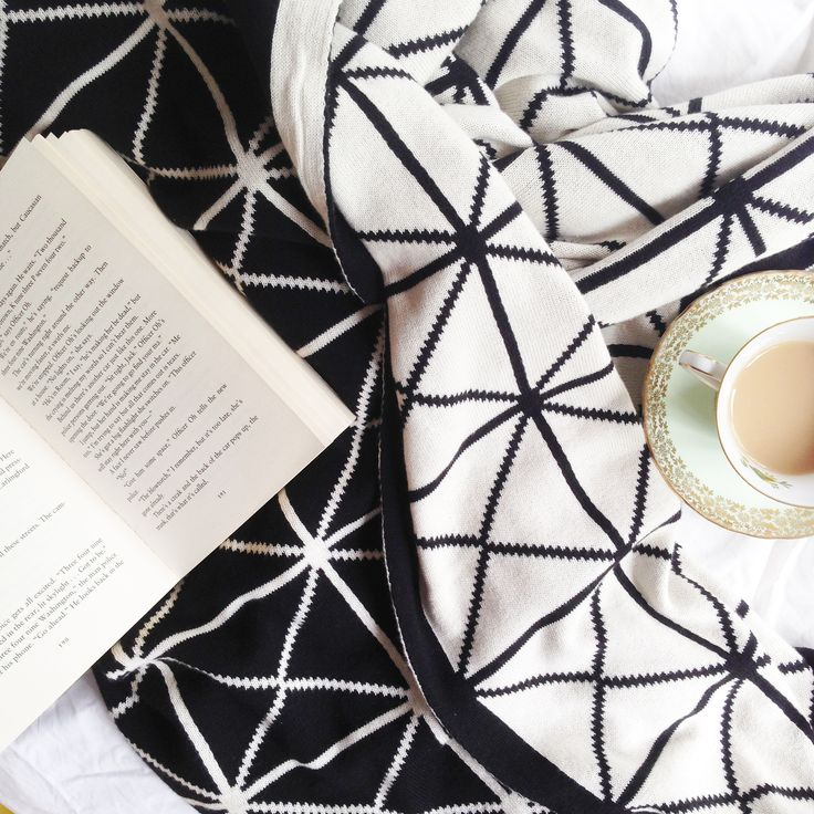 Sundays are for book reading, cups of tea, and snugging with our geometric blanky.  www.rosaliving.co.nz  www.rosaliving.com.au