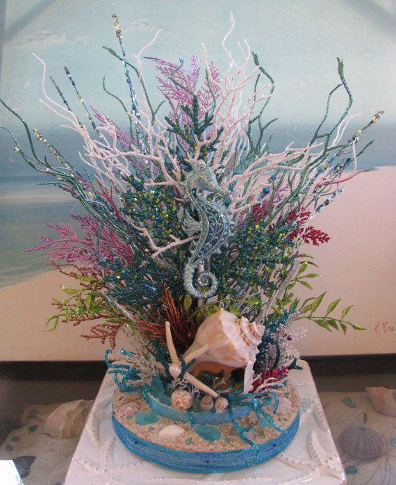 Seahorse Coral Reef Glitter Centerpiece~~designed  by CeShoreTreasures:)