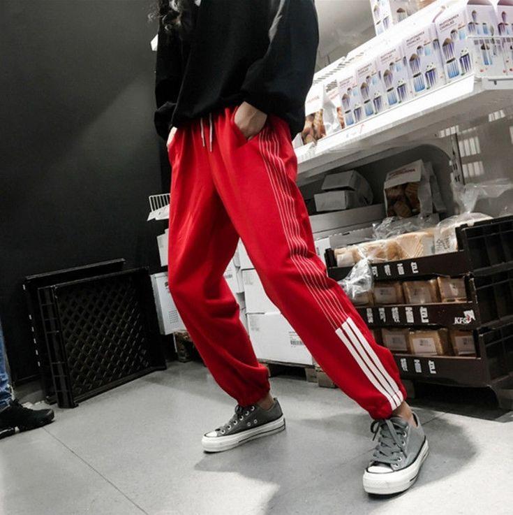 Hot Sale Korean Women Side Striped Sports Trousers Hip Hop Pockets Elastic Pants | Clothing, Shoes & Accessories, Women's Clothing, Pants | eBay!