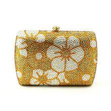 Heißer Verkauf Gelb Frauen Handtasche Tasche Silber Kette Strass Kristall Clutch Abendtasche Blumenmuster Pakistanische Braut Kupplungen //Price: $US $59.00 & FREE Shipping //     #clknetwork