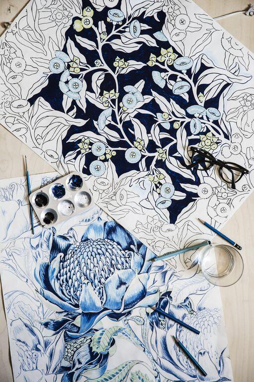 Wild Waratah illustartions for Utopia Goods by Bruce Slorach Australian textile…