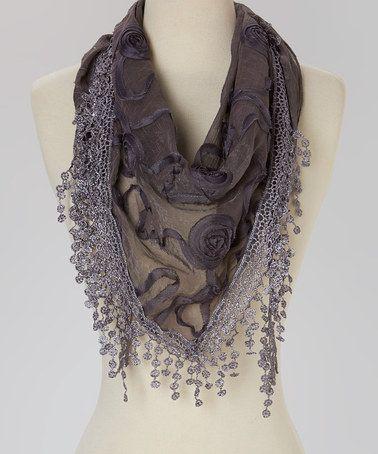 Dark Gray Rose Silk-Blend Scarf