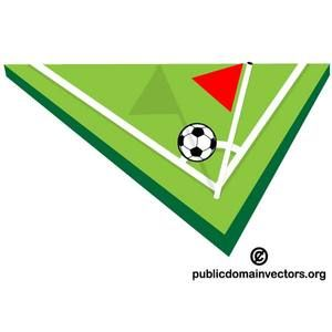 Vector illustration of a corner of football pitch with red flag and soccer ball.