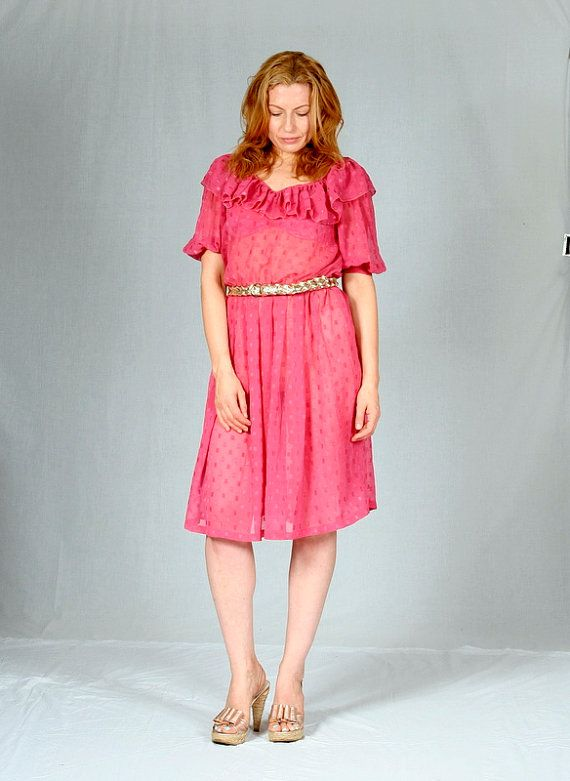Gorgeous 'raspberry pink' sheer 80's dress with ruffle neckline and puff sleeves.