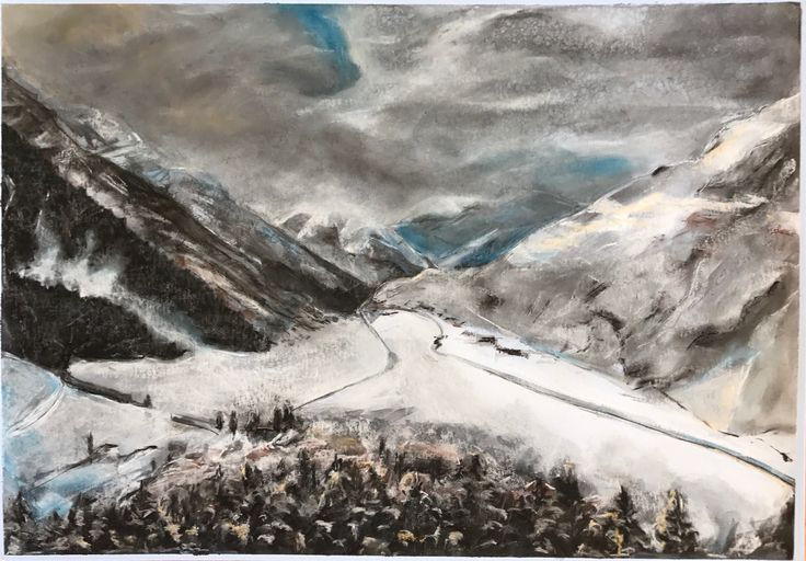 Oberalppass, Swiss Alps - Ink, Charcoal and Pastel, 2017