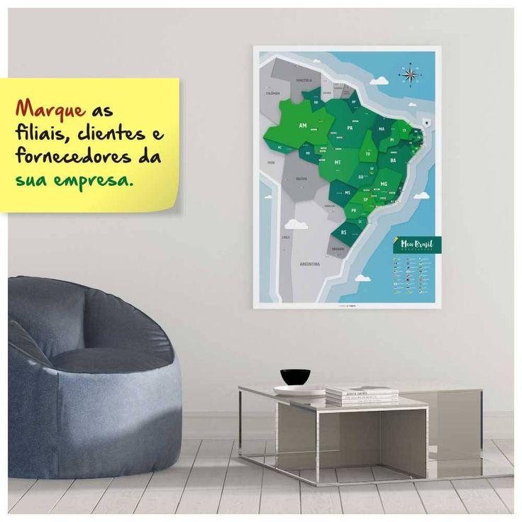 Poster mapa do Brasil com adesivos de pins e ícones turísticos para marcar suas viagens. Pôster Mapa do Brasil A1 + Adesivos (Pins + Ícones Turísticos) POS003A