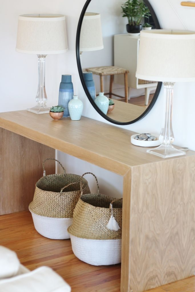 Waterfall Console Table With Round Mirror Reveal New Wall Paint Family Room Makeover Oak Console Table Hallway Table Decor