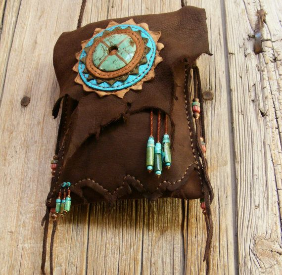 HEADING WEST deerskin Leather Purse with Turquoise, Two Pocket cross shoulder bag