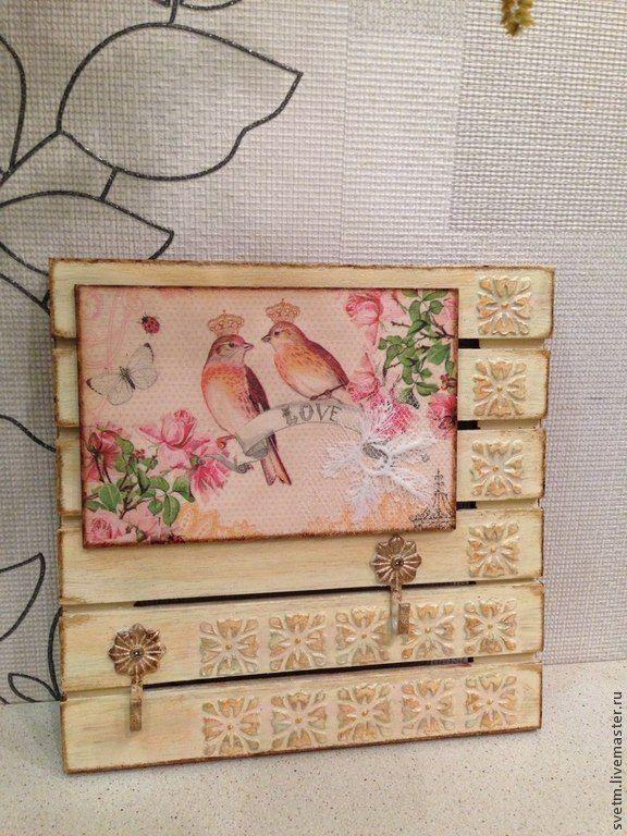 """Купить ключница""""птички"""".декупаж - Вешалка для полотенец, ключница, птички, свадьба, подарок на любой случай, дерево"""