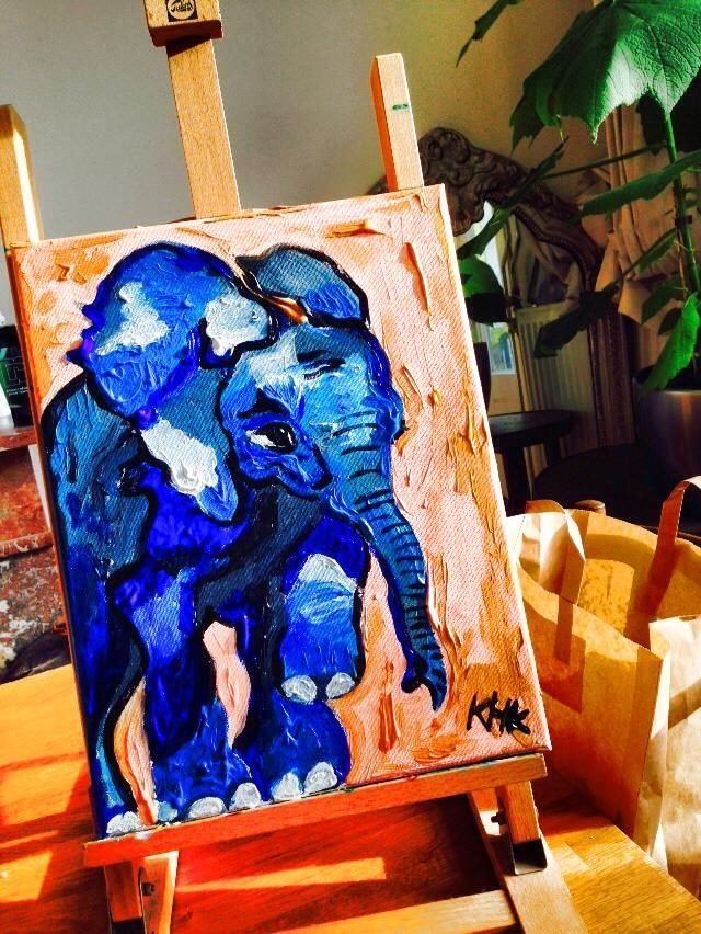 Baby elephant, acryl