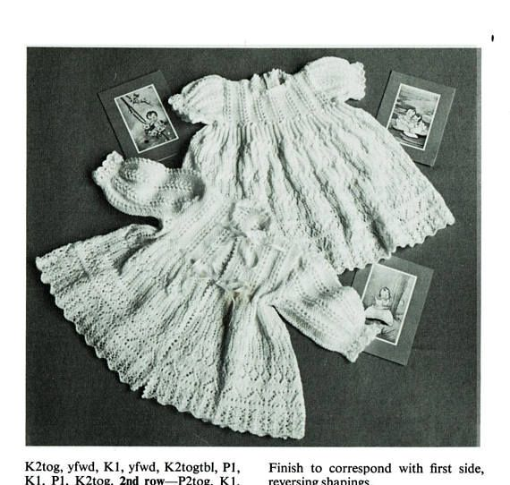 PDF Vintage Baby Christening Dress Knitting Pattern Robe