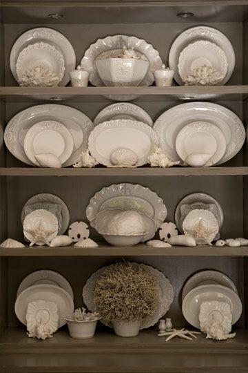Dish DisplayChina Display, Kitchens, Decor, Ideas, Dining Room, Shells, Plates, China Cabinets, White Dishes